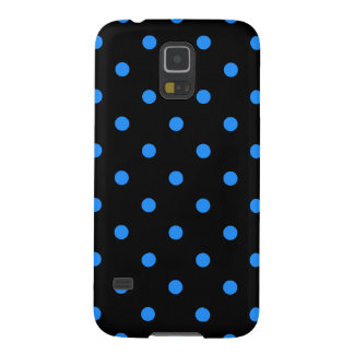 Small Polka Dots - Dodger Blue on Black Case For Galaxy S5