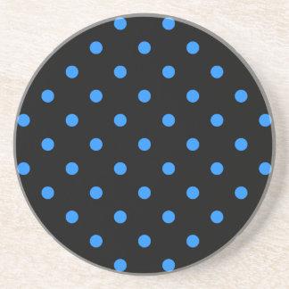 Small Polka Dots - Dodger Blue on Black Coaster