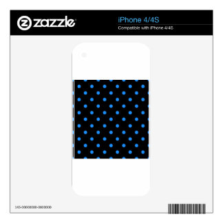 Small Polka Dots - Dodger Blue on Black Decal For iPhone 4S
