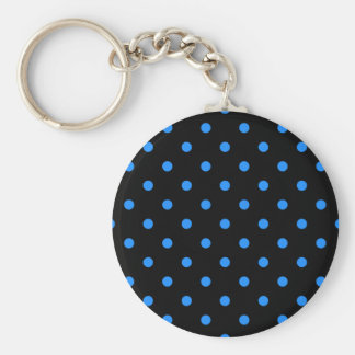 Small Polka Dots - Dodger Blue on Black Keychain