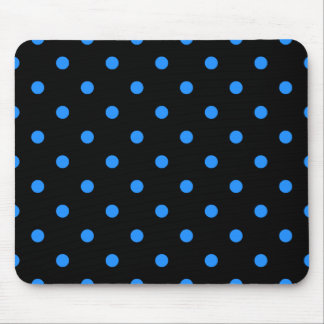 Small Polka Dots - Dodger Blue on Black Mouse Pad
