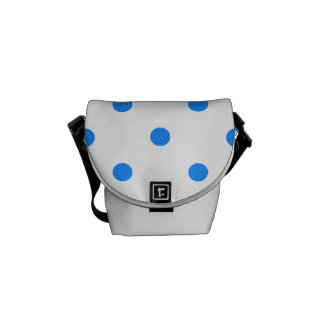Small Polka Dots - Dodger Blue on White Courier Bag