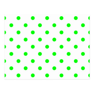 Small Polka Dots - Electric Green on White Postcard