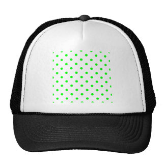 Small Polka Dots - Electric Green on White Trucker Hat