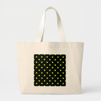 Small Polka Dots - Fluorescent Yellow on Black Large Tote Bag