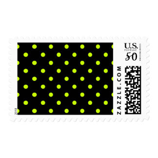 Small Polka Dots - Fluorescent Yellow on Black Postage