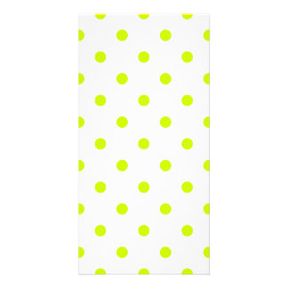 Small Polka Dots - Fluorescent Yellow on White Card