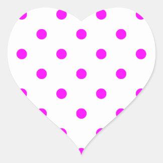 Small Polka Dots - Fuchsia on White Heart Sticker