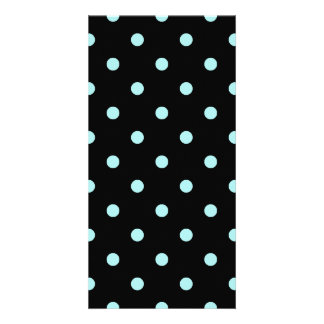 Small Polka Dots - Pale Blue on Black Card