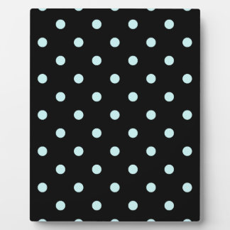 Small Polka Dots - Pale Blue on Black Plaque