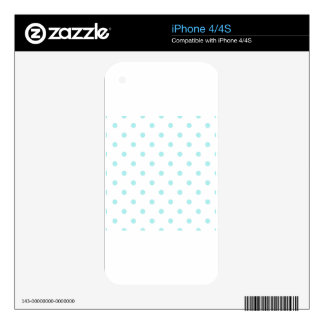 Small Polka Dots - Pale Blue on White iPhone 4 Skins