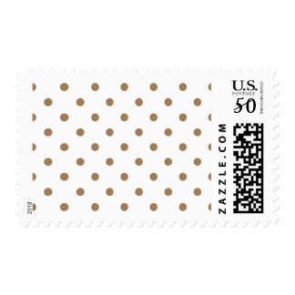 Small Polka Dots - Pale Brown on White Postage