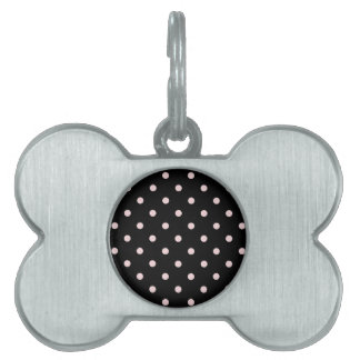 Small Polka Dots - Pale Pink on Black Pet Name Tag