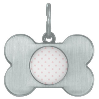 Small Polka Dots - Pale Pink on White Pet Name Tag