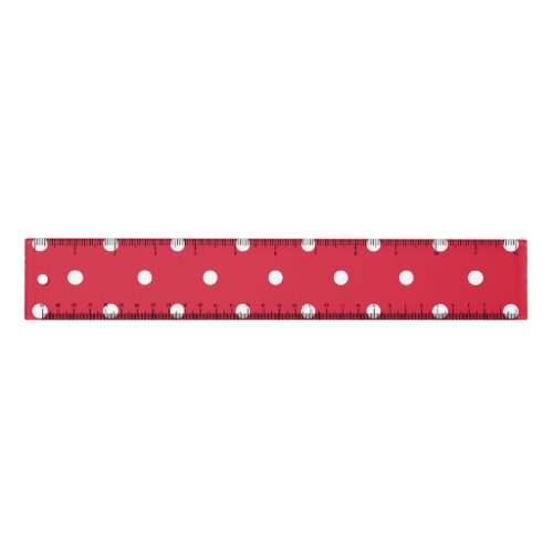 Small Polka Dots Pattern: Red Ruler
