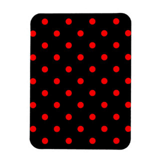 Small Polka Dots - Red on Black Magnet