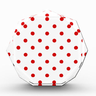 Small Polka Dots - Rosso Corsa on White Acrylic Award