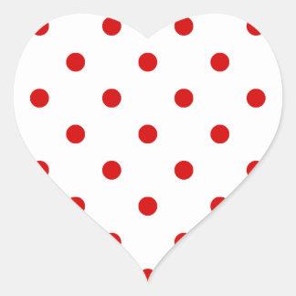 Small Polka Dots - Rosso Corsa on White Heart Sticker