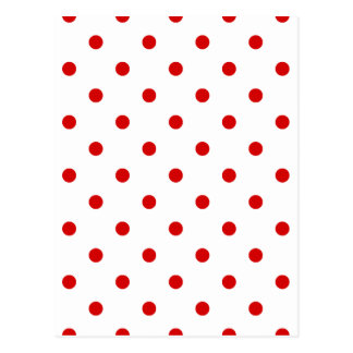 Small Polka Dots - Rosso Corsa on White Postcard