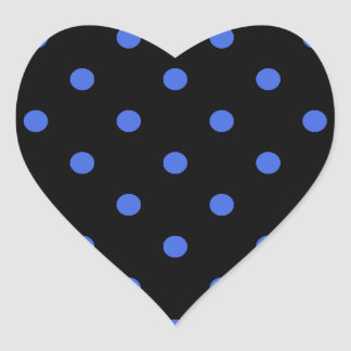 Small Polka Dots - Royal Blue on Black Heart Sticker