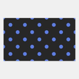 Small Polka Dots - Royal Blue on Black Rectangular Sticker