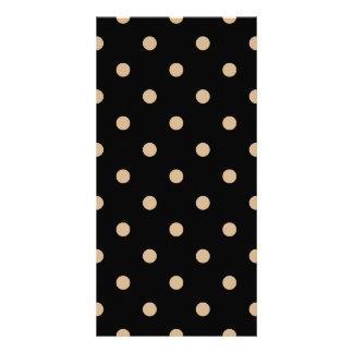 Small Polka Dots - Tan on Black Card