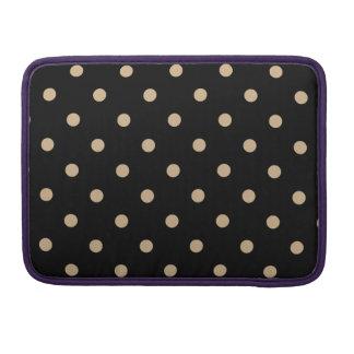 Small Polka Dots - Tan on Black MacBook Pro Sleeve