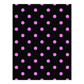Small Polka Dots - Ultra Pink on Black Letterhead