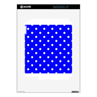 Small Polka Dots - White on Blue Decal For iPad 2