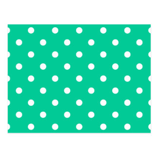 Small Polka Dots - White on Caribbean Green Postcard