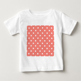 Small Polka Dots - White on Coral Pink Baby T-Shirt