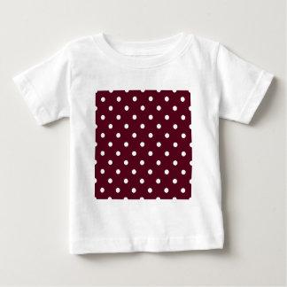 Small Polka Dots - White on Dark Scarlet Baby T-Shirt