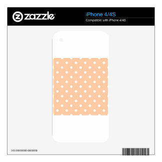 Small Polka Dots - White on Deep Peach Decals For The iPhone 4S