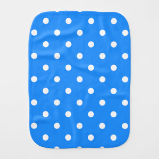 Small Polka Dots - White on Dodger Blue Baby Burp Cloth