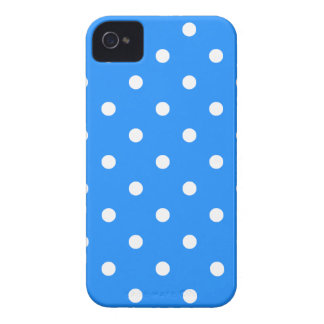Small Polka Dots - White on Dodger Blue iPhone 4 Case-Mate Case