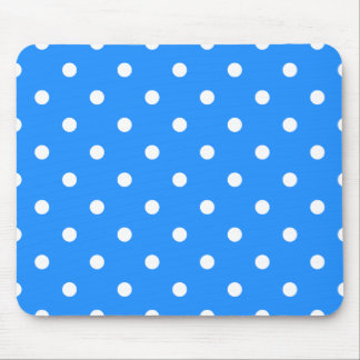 Small Polka Dots - White on Dodger Blue Mouse Pad