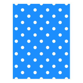 Small Polka Dots - White on Dodger Blue Postcard