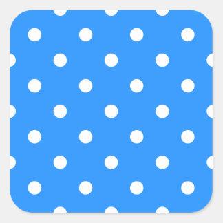 Small Polka Dots - White on Dodger Blue Square Sticker