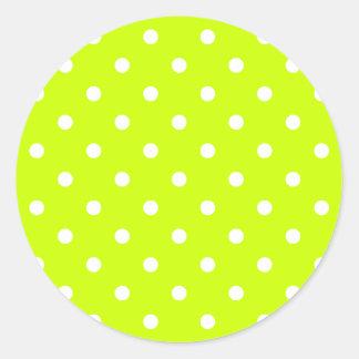 Small Polka Dots - White on Fluorescent Yellow Classic Round Sticker