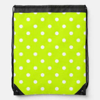 Small Polka Dots - White on Fluorescent Yellow Drawstring Backpack