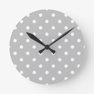 Small Polka Dots - White on Light Gray Round Clock