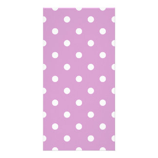 Small Polka Dots - White on Light Medium Orchid Card