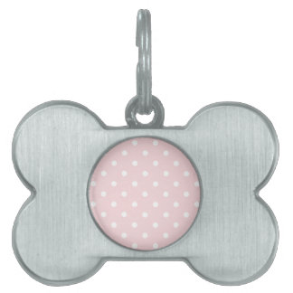Small Polka Dots - White on Pale Pink Pet Name Tag
