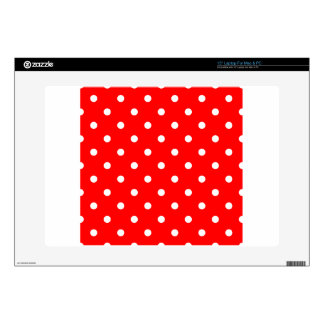 """Small Polka Dots - White on Red Decal For 15"""" Laptop"""