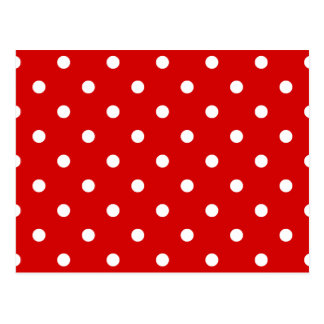 Small Polka Dots - White on Rosso Corsa Postcard