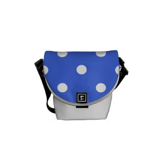 Small Polka Dots - White on Royal Blue Courier Bag
