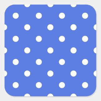 Small Polka Dots - White on Royal Blue Square Sticker