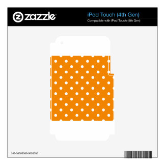 Small Polka Dots - White on Tangerine Skin For iPod Touch 4G