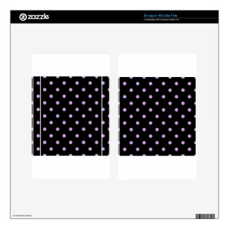 Small Polka Dots - Wisteria on Black Kindle Fire Skins