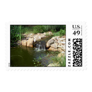 Small Pond and Waterfall Postage Stamp